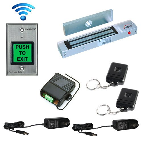 FPC-5178 One door Access Control outswinging door 300lbs Electromagnetic lock with Seco-Larm Wireless Remote and Seco-Larm Wireless SD-8202GT-PEQ kit by FPC