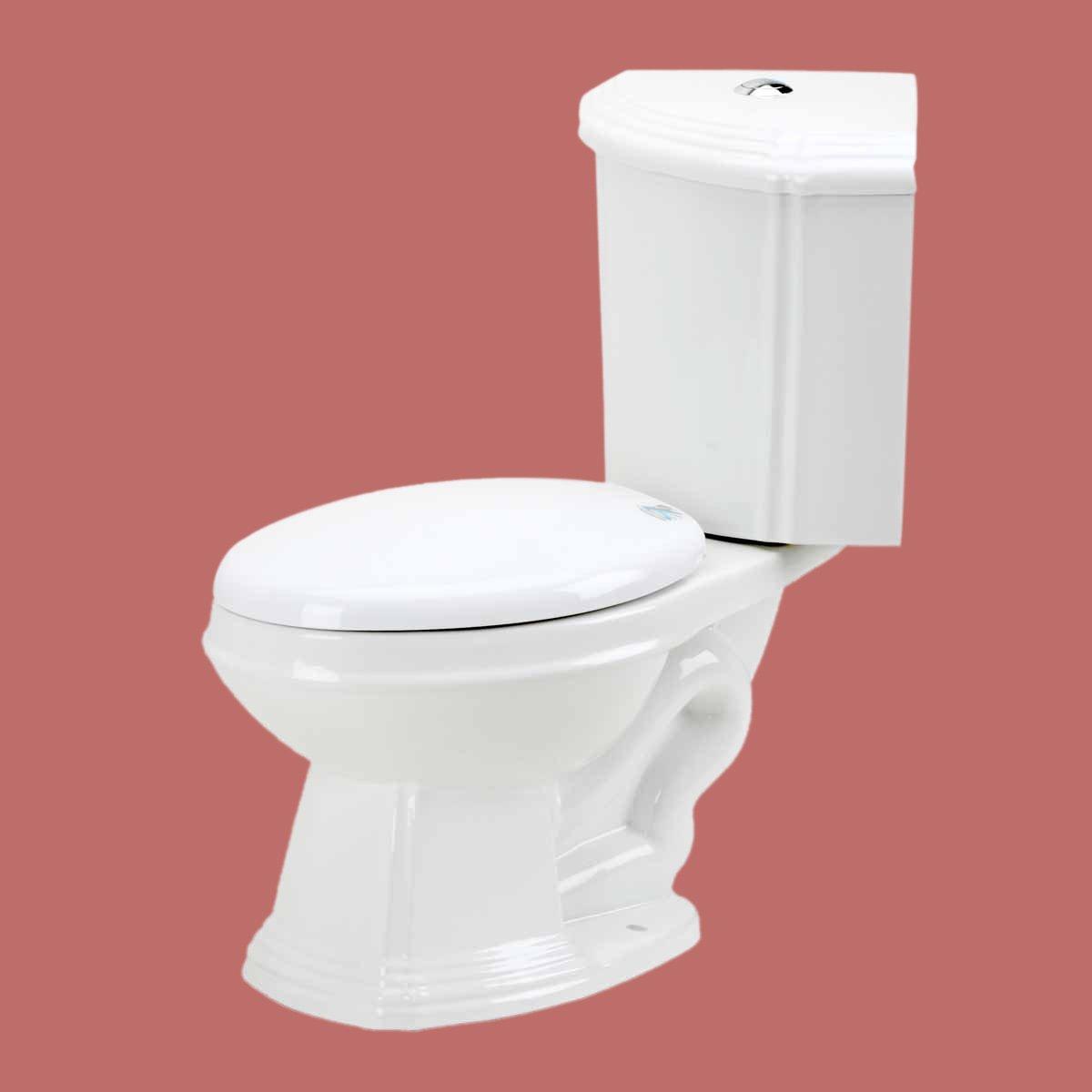 White Porcelain Elongated Space Saving Corner Toilet | Renovator\'s ...