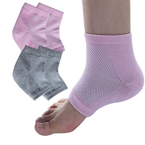 Cracked Cuticles - EXPER Moisturizing Gel Heel Socks for Dry Cracked Heels Damaged Cuticles and Calluses Skin Pack of 2 Pair (Grey+pink)