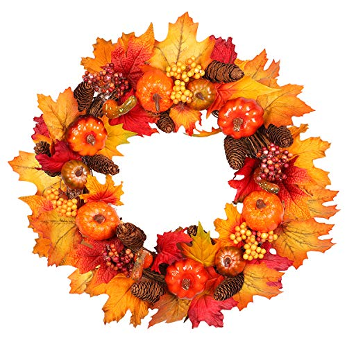 Fall Wreath, 18 inch Artificial Fall Wreath for Front Door, Christmas Wreaths with Pumpkins, Pinecone, Maple Leaf and Berry, Halloween Easter Wreath, Thanksgiving Day Indoor or Outdoor Decora (yellow) (Extra Christmas For Wreaths Large Sale)