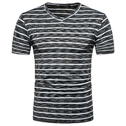 GREFER Men's 2018 Summer Casual Stripe Print V Neck Pullover T-Shirt Top Blouse (XXL, Black) ()
