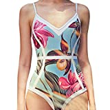 Meigeanfang Womens One Piece Swimwear, Bikini Push-Up Padded Leaves Print Backless Beachwear Swimsuits (Blue,S)