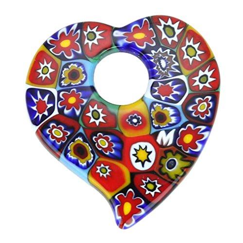 GlassOfVenice Murano Glass Elegant Millefiori Heart Pendant - Multicolor ()