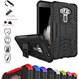 Zenfone 3 5.2 ZE520KL Case,Mama Mouth Shockproof Heavy Duty Combo Hybrid Rugged Dual Layer Grip Cover with Kickstand For Asus Zenfone 3 5.2 ZE520KL(With 4 in 1 Free Gift Packaged),Black