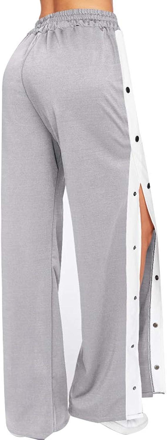 Inlefen Cintura Alta Pantalones Lado Abierto Pierna Ancha Pantalones De Las Mujeres Talla Extra Suelto Casual Pantalones Amazon Es Ropa Y Accesorios