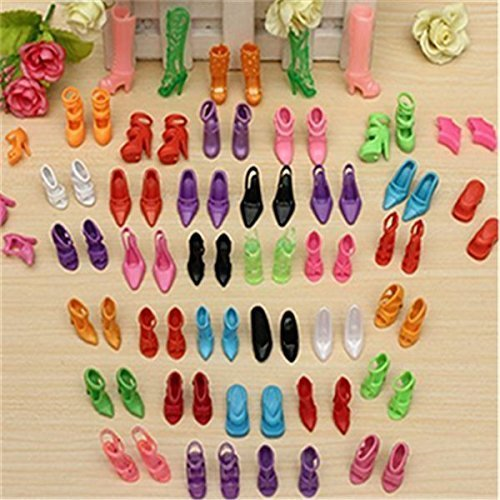 DierCosy 40 Pairs Different High Heel Shoes Boots Accessories for Barbie Doll ()