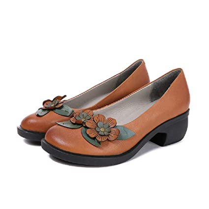 Women Block Mary Jane Leather Flats Vintage Casual Shoes (Color ...