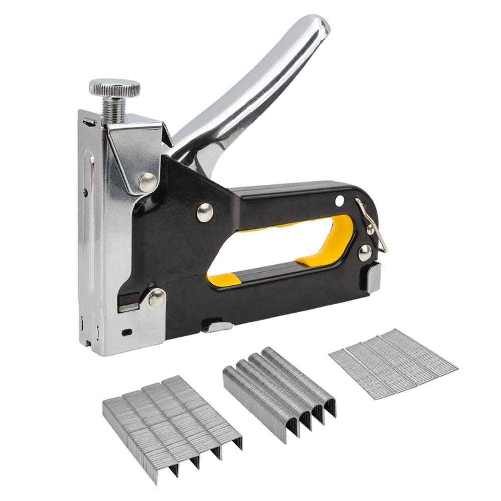 Senzeal Staple Gun, 3 in 1 Heavy Duty Staple/Brad Nail Gun, 3 Way Tacker with 600 Staples for Fixing Material, Decoration, Carpentry, Furniture, Doors and Windows, Billboards