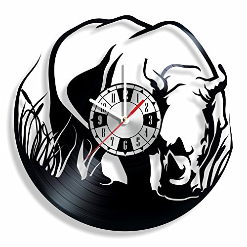 Black Clock Beetle - NiceIdeas4Home RHINO BEETLE wall clock made from vintage vinyl record wonderful handmade gift for your loved one