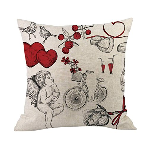 "Clearance Deals Happy Valentine Pillow Cases,ZYooh Cute Love Printed Linen Throw Pillow Cases Sofa Cushion Cover Home Party Decor Pillow Cases 18"" (H)"
