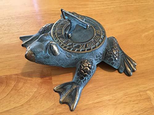 Decorative Solid Brass Sundial Frog Garden Outdoor Statue Figurine