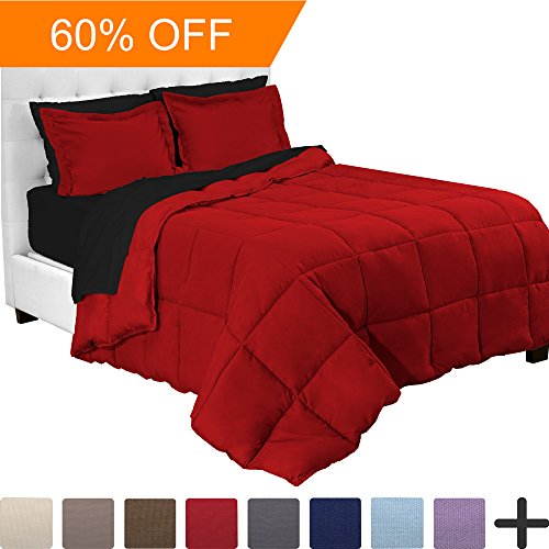 5-Piece Bed-In-A-Bag - Twin XL Extra Long (Comforter Set: Red, Sheet Set: Black)