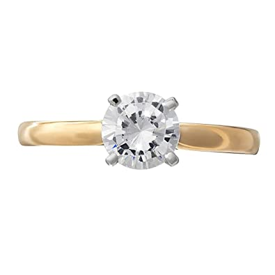 bfbe93dad431b diamond ring 1 carat solitaire yellow gold for women  Amazon.co.uk   Jewellery