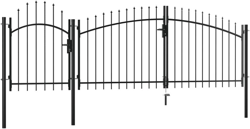 2 x 4 m Schwarz Tidyard Metall Gartentor Zauntor Hoftor Doppeltor Doppelfl/ügeltor Einfahrtstor Abschlie/ßbar