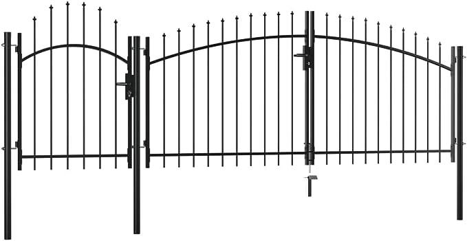 vidaXL Puerta de Jardín de Acero Casa Hogar Huerto Piscina Porche Cancela Pórtico Portillo Portón Abertura Paso Entrada Salida Bricolaje 2x4 m Negro: Amazon.es: Bricolaje y herramientas