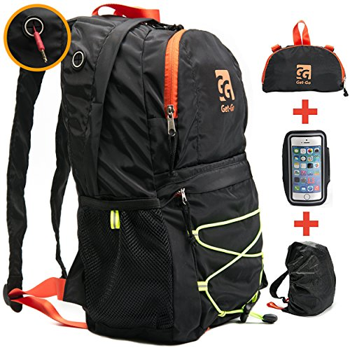 Get-Go Travel Backpack for Women and Men - Lightweight Foldable Daypack - Rucksack Perfect for Traveling, Camping or Hiking; BONUS: Rain Cover and Phone Armband