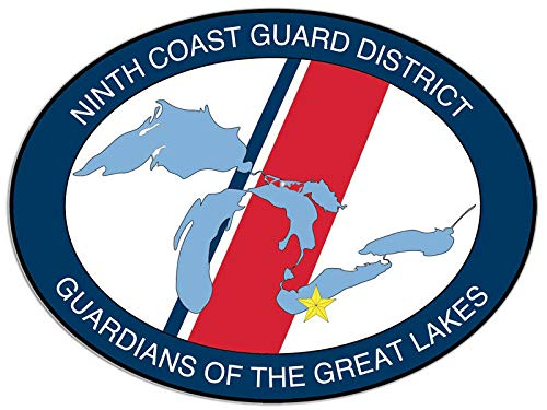 American Vinyl Oval Ninth Coast Guard District Seal Sticker - Guardians Great Lakes mi
