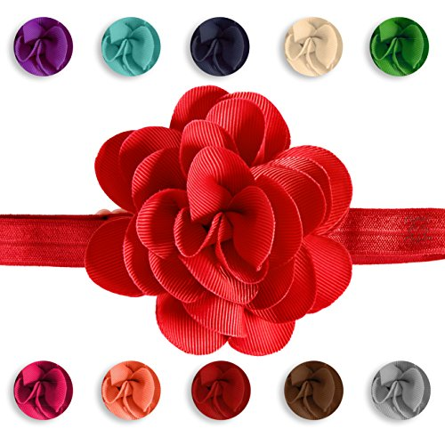 Clipeez Mix N' Match Grosgrain Flower Adjustable Headband, for Newborn, Baby, and Girls. (Color Pack 2)