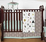 Outdoor Adventure Nature Fox Bear Animals Boys Baby Bedding 4 Piece Crib Set Without Bumper