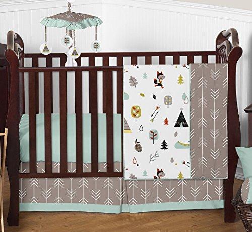 Outdoor Adventures Pattern (Outdoor Adventure Nature Fox Bear Animals Boys Baby Bedding 4 Piece Crib Set Without Bumper)