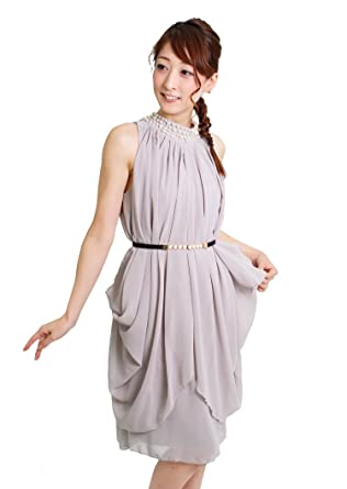 e85cf1da5f3b3 Ripple plus ドレス パーティードレス 結婚式 ミニ パールベルト付ドレープシフォンAラインミニ
