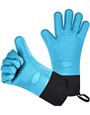 Long Thick Silicone Kitchen BBQ Gloves, Heat-resistant Non-slip Microwave Oven Mitts,Kitchen Baking Cooking Canvas Stitching Grilling Gloves with Inner Cotton Layer for BBQ,Cooking, Baking,Smoker