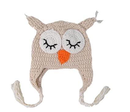 Image Unavailable. Image not available for. Color  Ximkee Kids Baby Boy  Girl Crochet Sleepy Owl Hat Beanie Photography Props 05f9da1b717d
