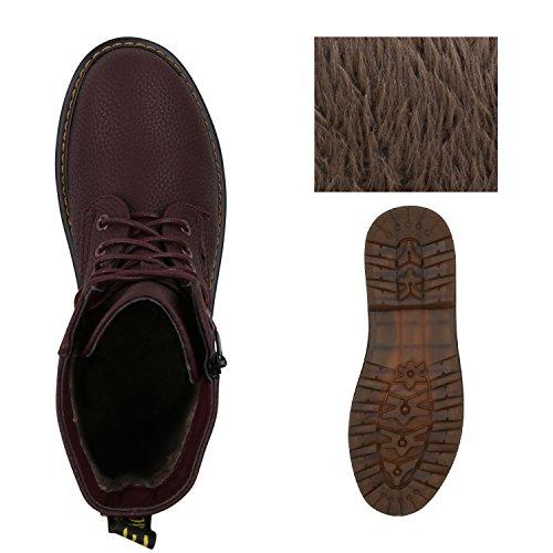 Stiefelparadies Damen Worker Boots Gefütterte Stiefeletten Leder-Optik Schuhe Flandell Dunkelrot Zipper