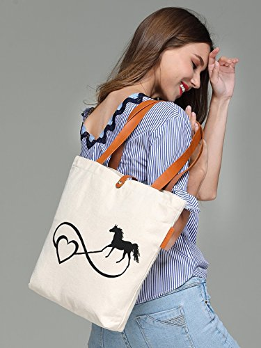 So'each Women's Love Horse Letters Graphic Top Handle Canvas Tote Shoulder Bag