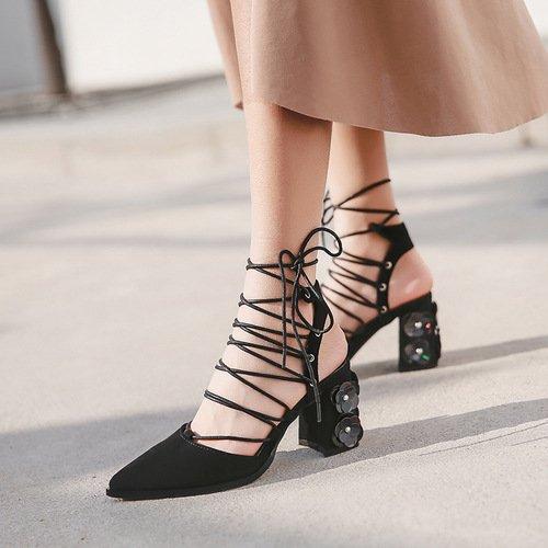 con spessore alti sandali di black tacchi Donna ZHZNVX catena la reggetta su fiori Sandals nuova qfaY0Sw