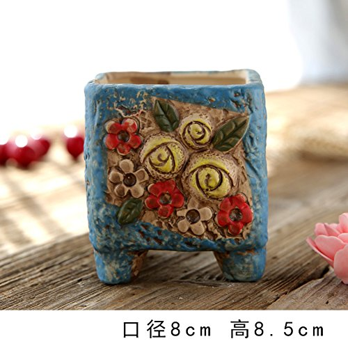 DXG&FX European,hand-painted,meaty,flower pots pottery, breathable,creative,personality,plant-F