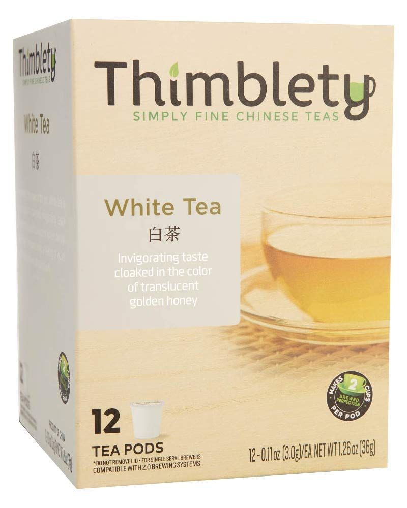 Thimblety Natural Chinese Silver Needle White Tea Keurig Compatible K-Cup 12 Pack, brew 2 cups per pod by Thimblety