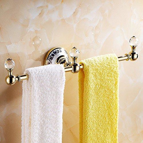 OWOFAN 14-Inch Brass Towel Holder Hanger Single Bar 3 Hooks Bathroom Storage Shelf Wall Mounted Luxury Gold WF-6319K by OWOFAN (Image #3)