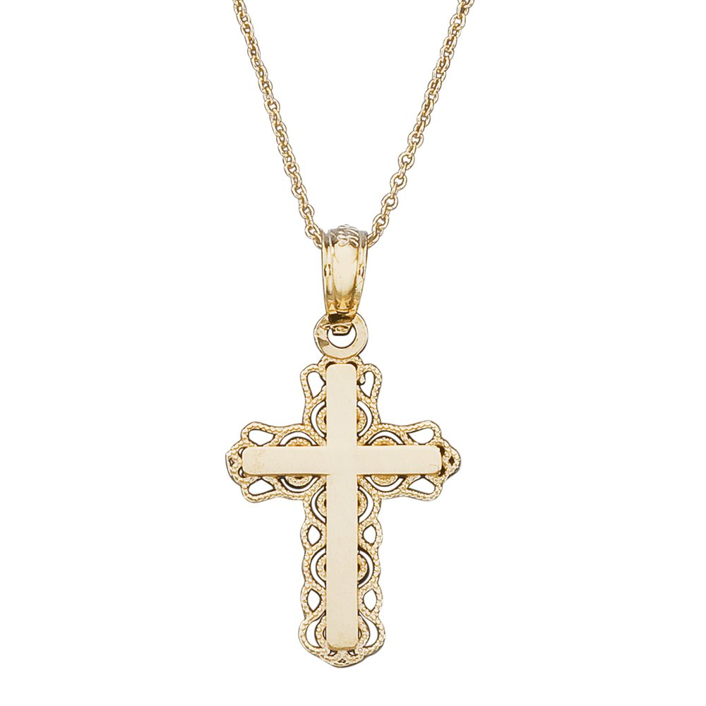 14k Gold Boys & Girls Lace Cross Children's Necklace 16''