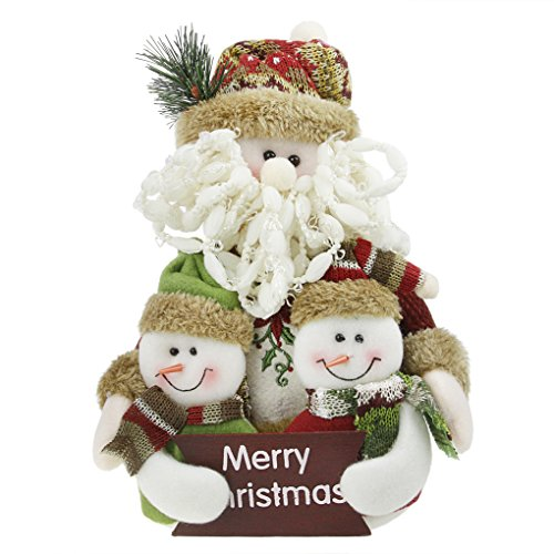 Merry Christmas Gift Toys Plush Standing Santa Claus Snowman Reindeer Stuffed Rag Toy Dolls Collectible Figurines Home Party Indoor Table Desktop Fireplace Furnishing Decoration Xmas Birthday Gift (Stuffed Ornaments Snowman)