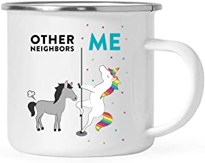 Andaz Press Funny Quirky 11oz. Stainless Steel Campfire Coffee Tea Mug Thank You Gift, Other Neighbors Me, Horse Unicorn, 1-Pack, Birthday Christmas Gift Ideas Coworker, Gift Box