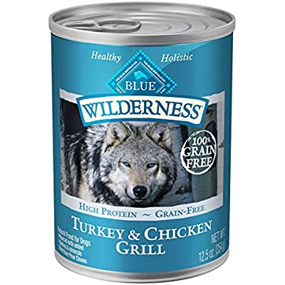 Blue Buffalo Wilderness High Protein Grain Free, Natural Adult Wet Dog Food, Turkey & Chicken Grill 12.5-oz can (pack of 12), Blue Buffalo Wilderness High Protein Grain Free, Natural Adult Wet Dog Food, 12.5-oz can (pack of 12)