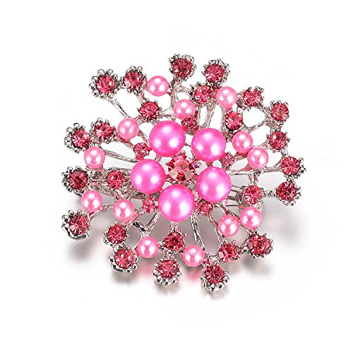 Brooches Vintage Brooch Pins Austria Crystal Imitation Pearl Flower Brooch Wedding (Pink) - Sterling Silver Small Beaded Cross