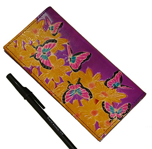 Genuine Leather Checkbook Cover, the World of Flowers & Butterflies Pattern Embossed. (Purple) ()