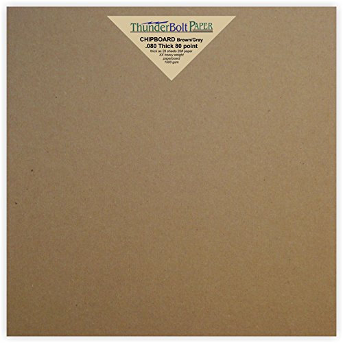 10 Sheets Brown Chipboard 80 Point Extra Thick 8 X 8 Inches Album|Scrapbook Size .080 Caliper XX Heavy Cardboard as Thick as 20 Sheets 20# (Chipboard Scrapbook Albums)