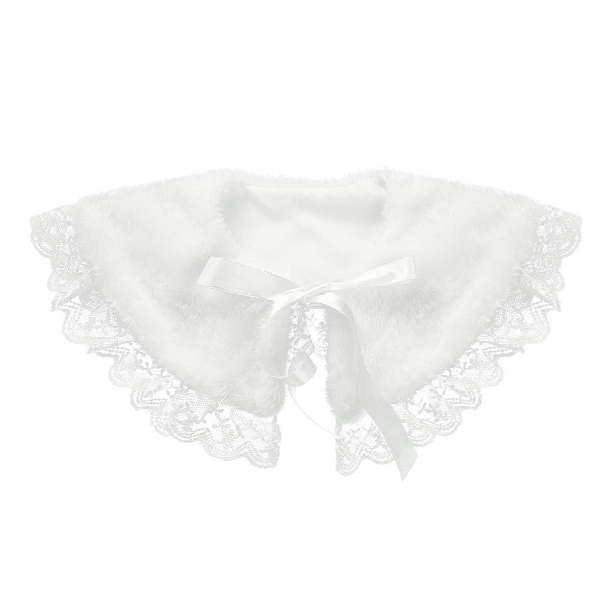 iEFiEL Girls Faux Fur Ribbon Ties Flower Dress Bolero Shrug Princess Cape White Faux Fur 4-5