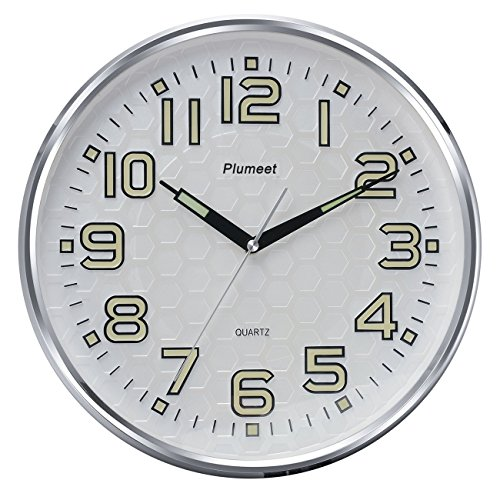 Plumeet 13-Inch Wall Clock with Silent Non-Ticking Night Lights for Indoor Kitchen of Large Number Battery Operated (Silver)