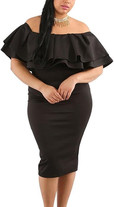 c07af122dad2 Lalagen Women s Off Shoulder Ruffle Plus Size Bodycon Party Midi Dress Black  XXXL