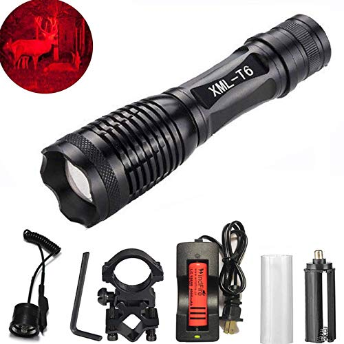 WINDFIRE WF-E6 CREE Red LED Hunting Light Zoomable Flashlight Cree LED Coyote Predator Hunting Light Kit with Remote Pressure Switch, Barrel Rail Rifle Mount, 18650 Rechargeable Battery ()