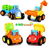 Dreampark Friction Powered Cars Push and Go Cars Inertia Toy Early Educational Toddler Baby Toy Tractor Bulldozer Dumper Cement Mixer Engineering Vehicles Toys Gift for Kids (4 PCS)
