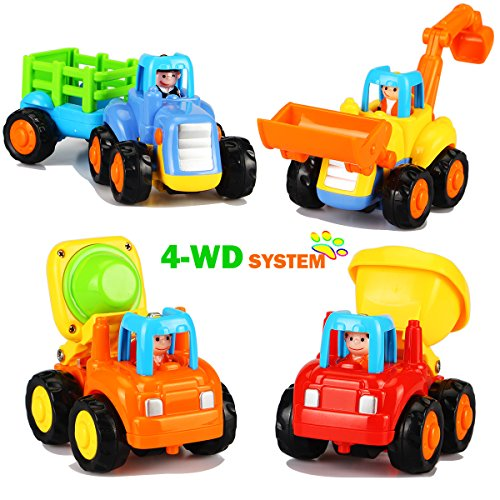 Dreampark Early Educational Toys, Trucks for 1 2 3 Year Old Boys Baby Toddler Friction Powered Push and Go Cars Toys Outdoor Construction Vehicles Tractor Toys Pack of 4 ()