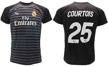 Camiseta Courtois Real Madrid portero negro Thibaut 2018 2019 en blíster regalo 25 adulto niño (adulto): Amazon.es: Ropa y accesorios