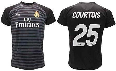 Camiseta Courtois Real Madrid Portero Negro Thibaut 2018 2019 En Blíster Regalo 25 Adulto Niño Amazon Es Deportes Y Aire Libre