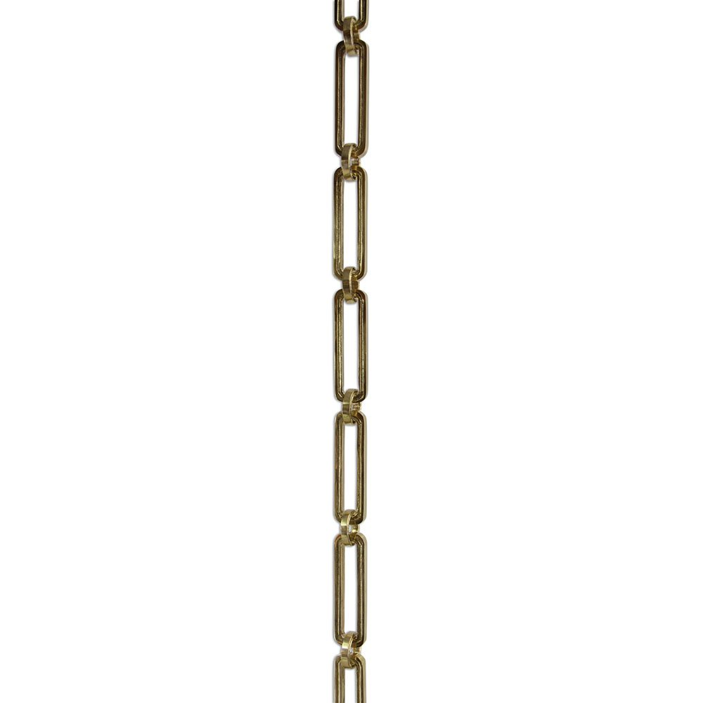 RCH Hardware CH-28-PB-3 Decorative Polished Solid Brass Chain for Hanging, Lighting-Rectangular Hinge with Rounded Edges (3 ft/1 Yard)