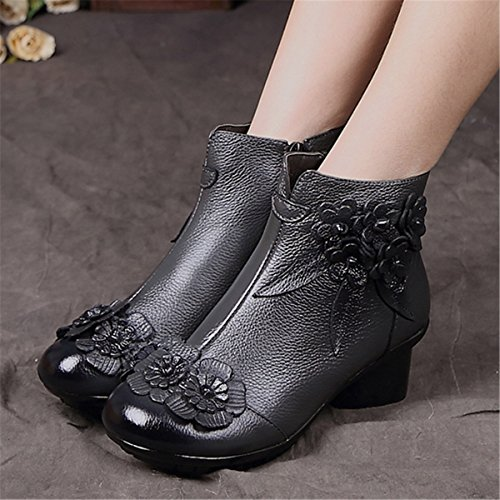 with Oxford Vintage Socofy Ankle Boot Rose fur Zipper Boots lining Heels Grey Handmade Casual Floral Leather Women's Leather Shoe rBqxrn6Y